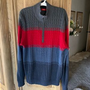 Izod Color Block cable knit 1/4 zip sweater